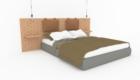 Bett und Möbel für ein Hotelzimmer